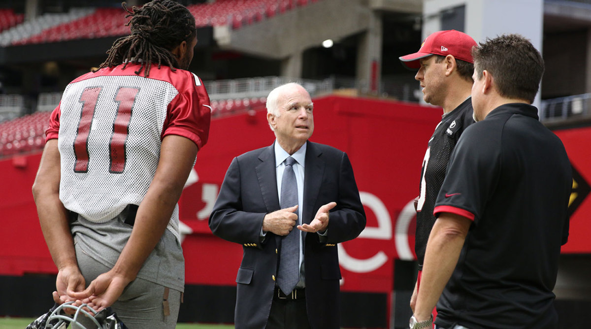 John McCain with Larry Fitzgerald and Carson Palmer.