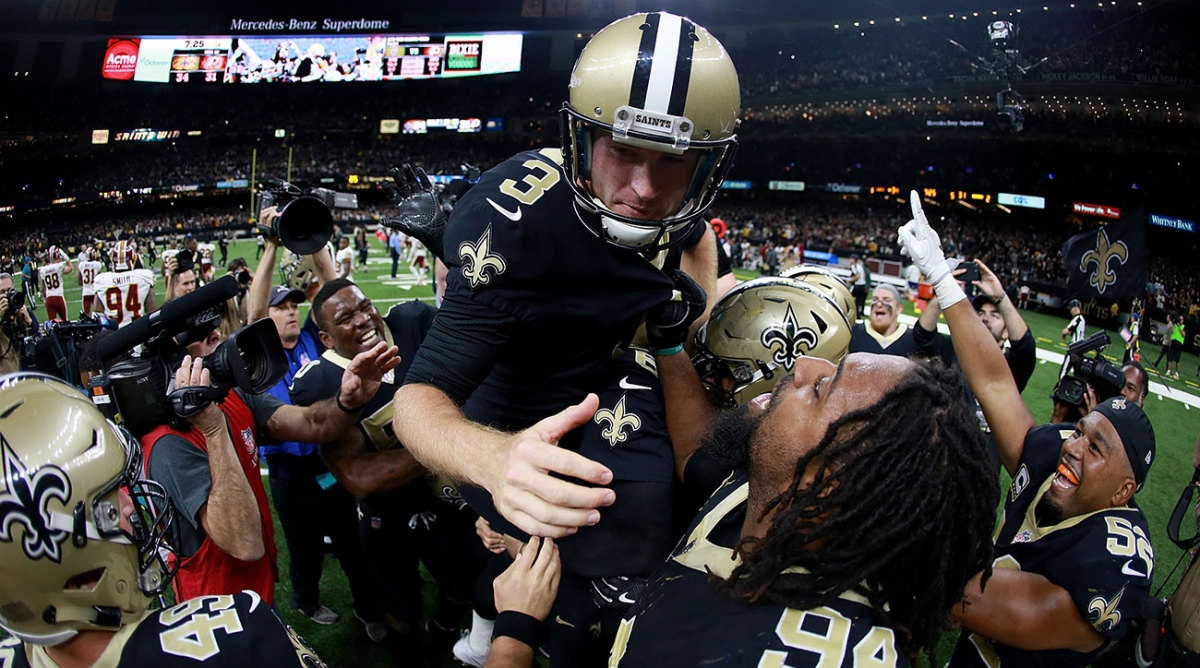 Wil Lutz gets the ride of a lifetime after kicking the game-winner in overtime.