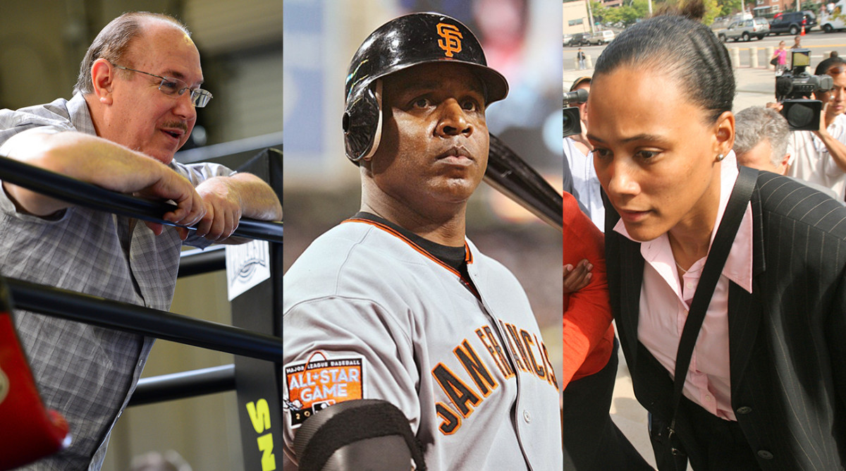 """Conte (left) still displays monuments to athletes disgraced by the BALCO scandal such as Barry Bonds and Marion Jones: """"And these athletes, it's not like they met me and I introduced them to drugs."""""""