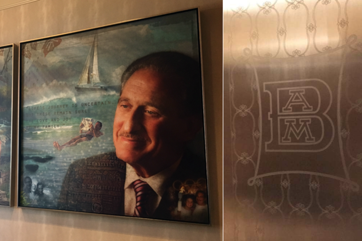 Arthur Blank's art work and elevator engraving.