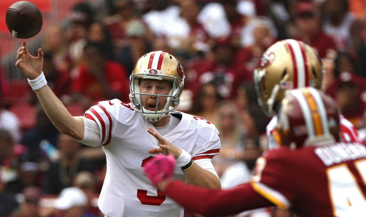 C.J. Beathard went 19 for 36 for 246 yards with a touchdown and an interception Sunday. He will start the Niners' next game.