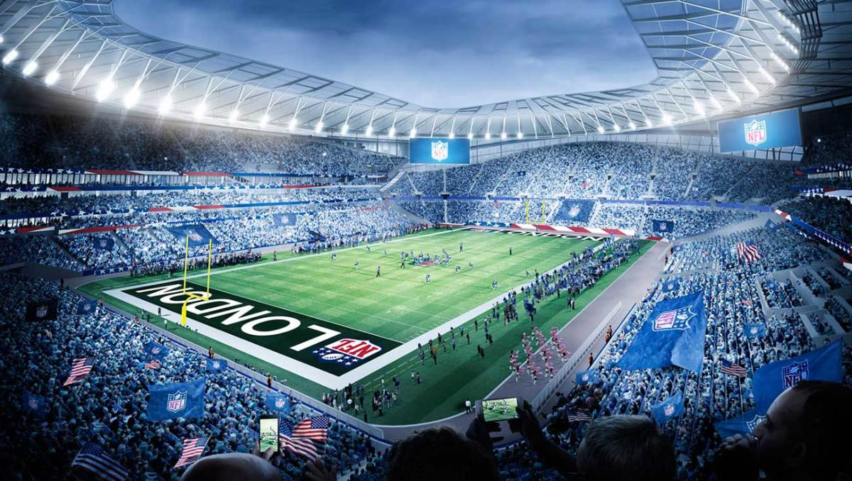 Tottenham's stadium will host two NFL games a year; it has a retractable grass pitch with an artificial-turf surface underneath for American football.