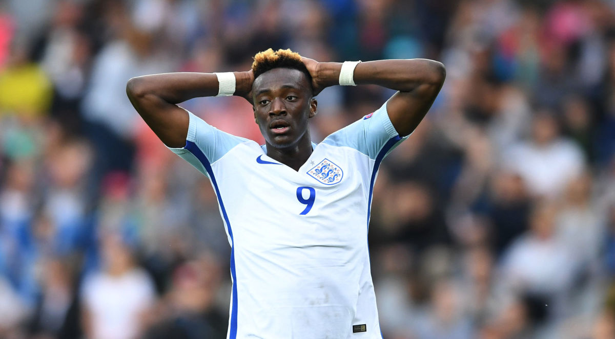 England's Tammy England's forward Tammy Abraham reacts during the UEFA U-21 European Championship Group A football match Sweden v England in Kielce, Poland on June 16, 2017.  / AFP PHOTO / PIOTR NOWAK        (Photo credit should read PIOTR NOWAK/AFP/Getty Images)