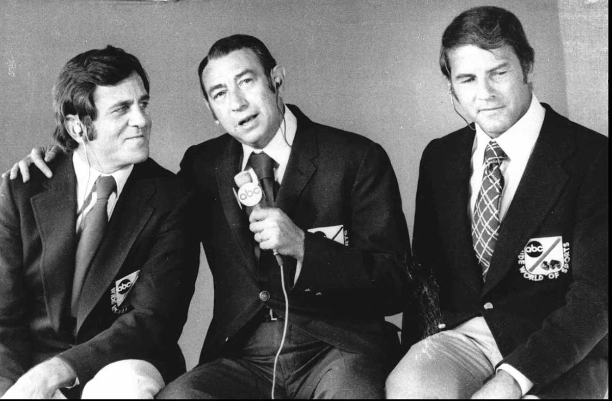 The classic MNF lineup: Don Meredith, Howard Cosell, Frank Gifford.