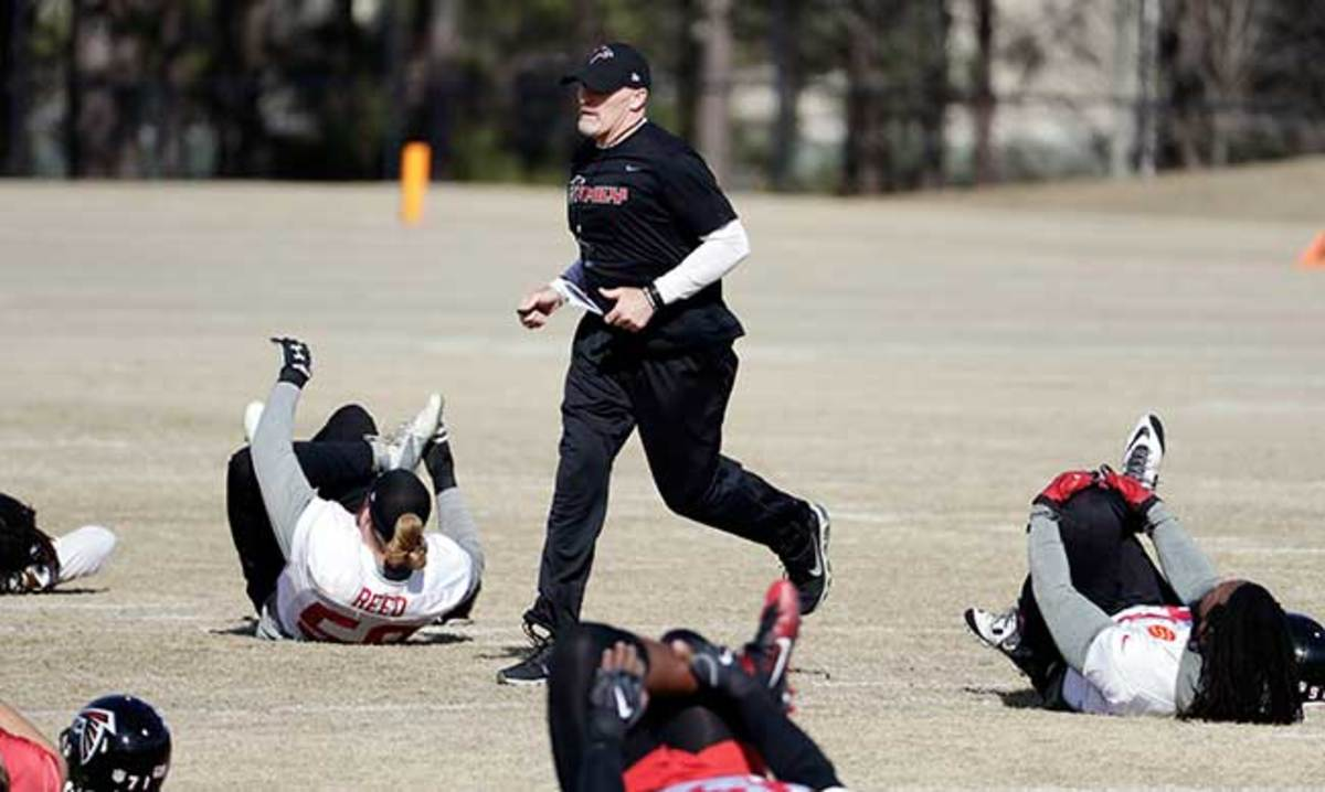 Dan Quinn puts his Falcons players through the paces in Flowery Branch, Ga., this week in advance of Super Bowl 51.
