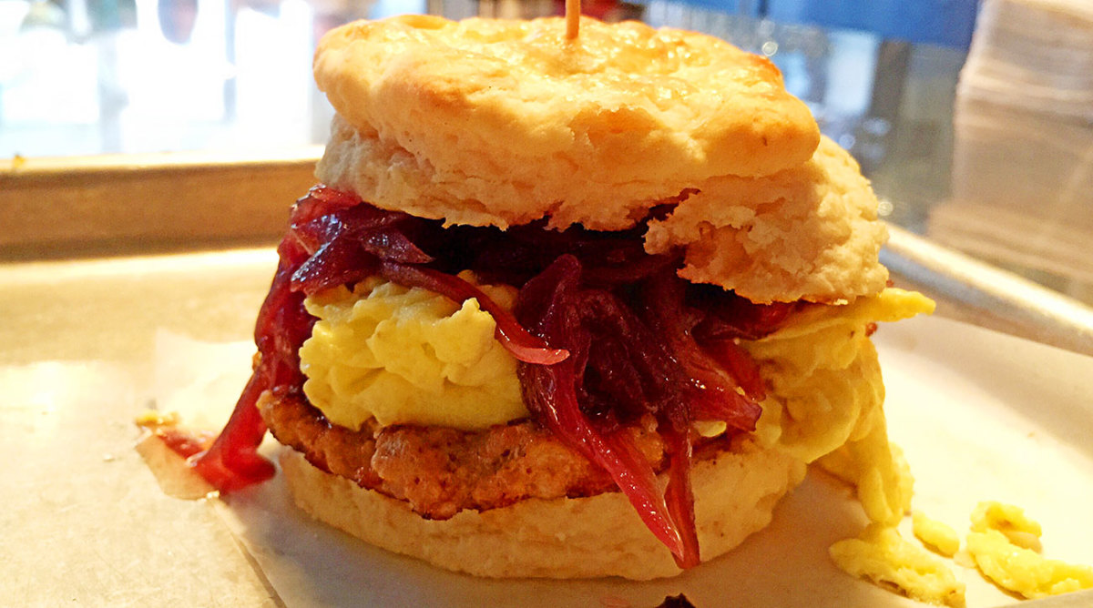 The biscuit sandwich from Philco Bar + Diner will call to you.
