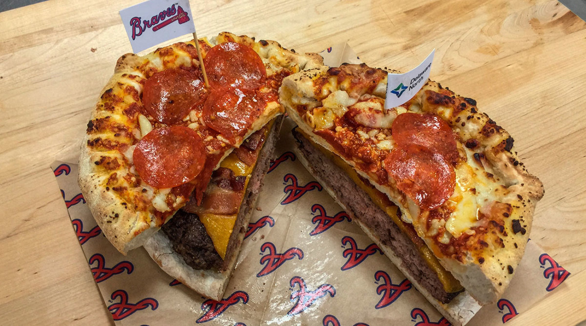 "The ""Burgerizza"", AKA a 20-ounce beef patty served between two eight-inch pepperoni pizzas."