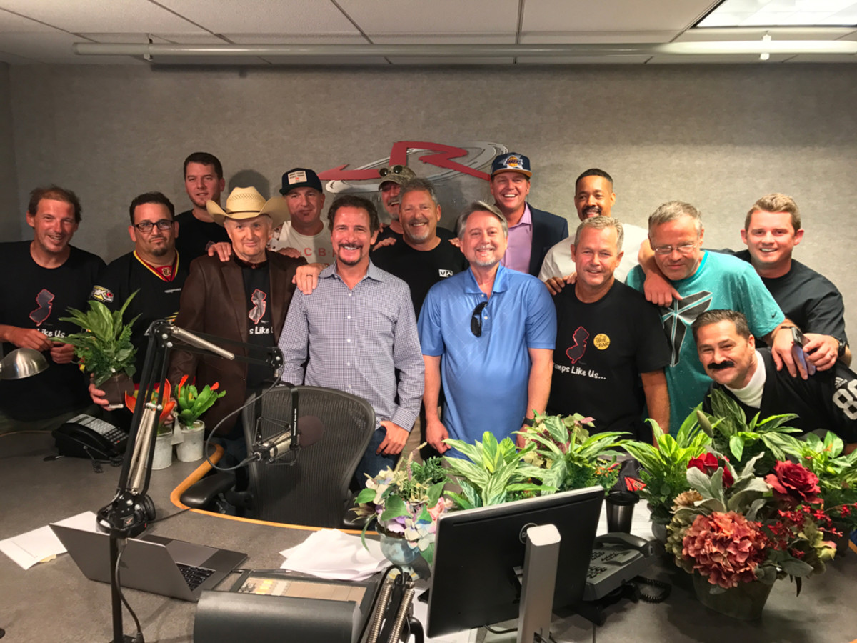 From left to right: Irie Craig, Rich in Anaheim Hills, Benny in Wisco, Trapper, Silk, Jim Rome, Joe in Lemon Grove, The CEO, The Coach, Rich Flores, Kerwin, Jim Benton, Terence, Randall (Dressed as Raider Mike), Leff in Laguna