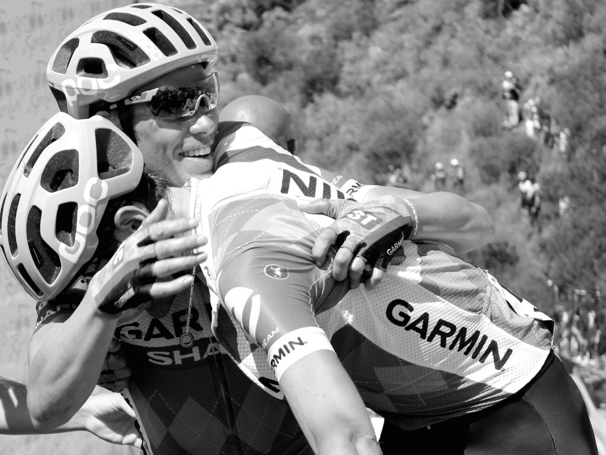 Phil Gaimon and Tommy Danielson at the top o the final climb in San Luis in 2014.