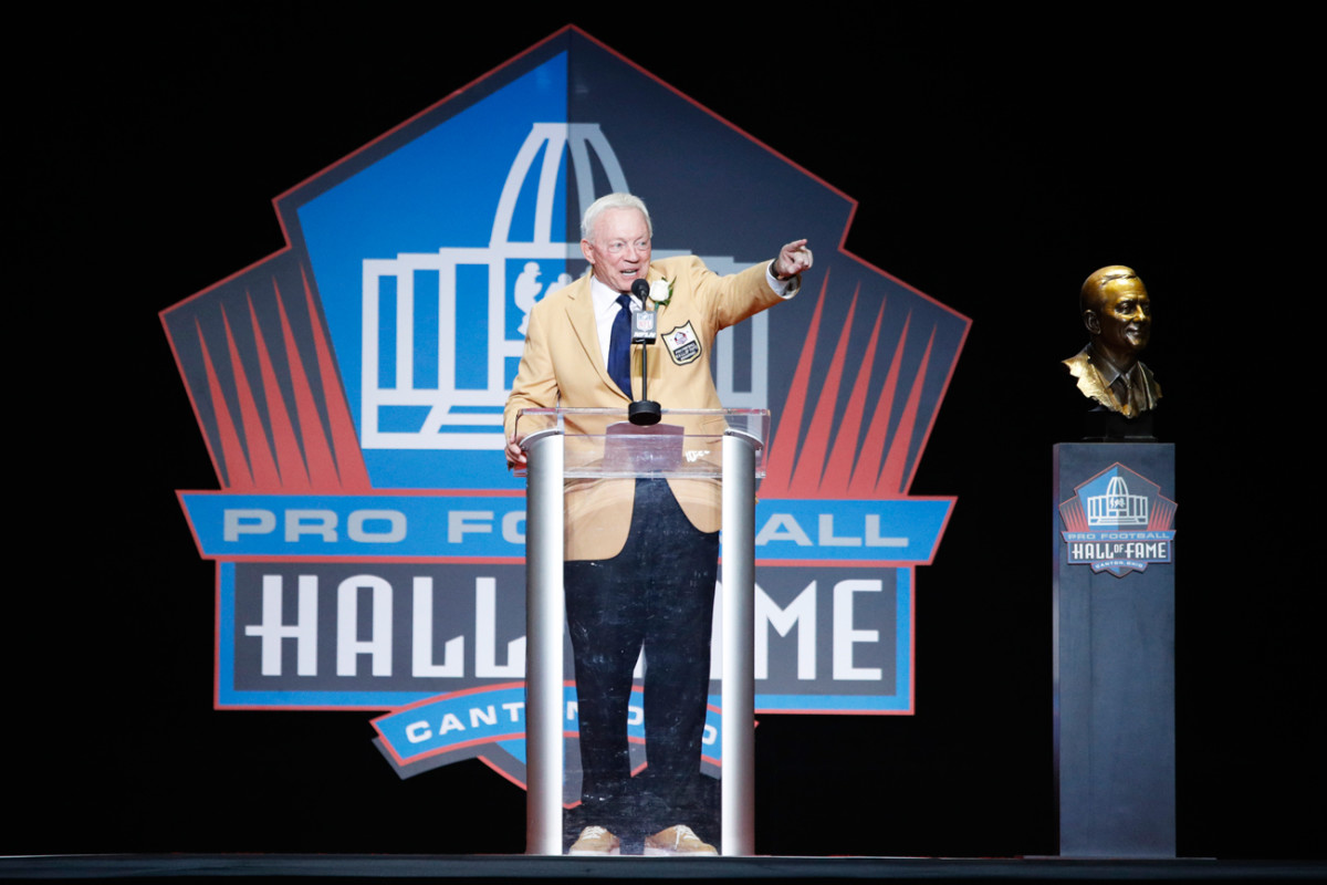 Cowboys owner Jerry Jones was inducted into the Pro Football Hall of Fame on Saturday.