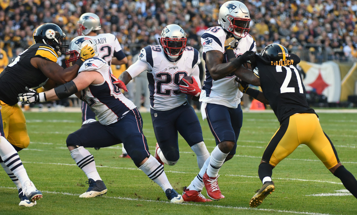 LeGarrette Blount rushed for 127 yards and two touchdowns in the Patriots' 27-16 win over the Steelers at Pittsburgh in Week 7.