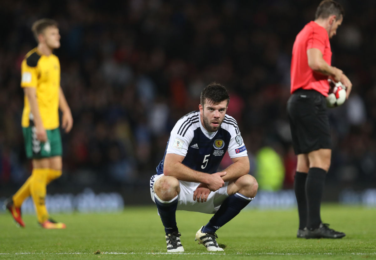 GLASGOW, SCOTLAND - OCTOBER 08: Grant Hanley of Scotland reacts at full time during the FIFA 2018 World Cup Qualifier between Scotland and Lithuania at Hampden Park on October 8, 2016 in Glasgow, Scotland. (Photo by Ian MacNicol/Getty Images)