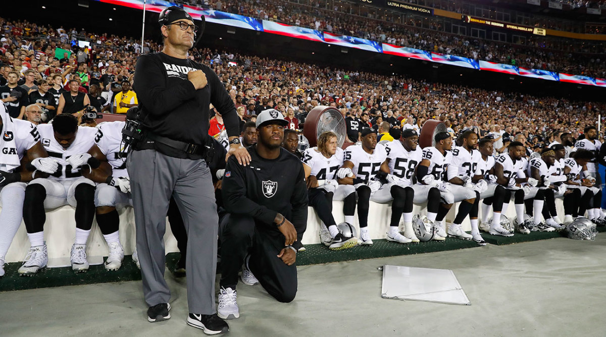 Many Oakland Raiders sat during the national anthem before suffering a Sunday Night Football loss to Washington.