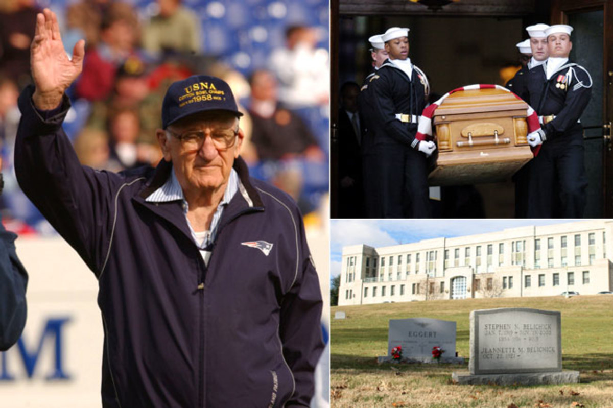 Clockwise from left: Former Navy coach Steve Belichick was honored by the Midshipmen during a halftime ceremony in October 2003. He died in November 2005 from heart failure, at age 86, and was buried in the Navy cemetery at Annapolis.