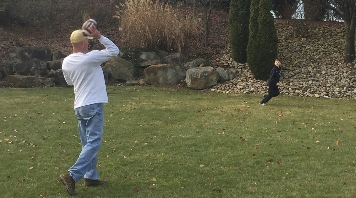 Watching Steelers football was once a family tradition, but Jim Colletti now spends his Sundays doing other things, like tossing the football with his son.
