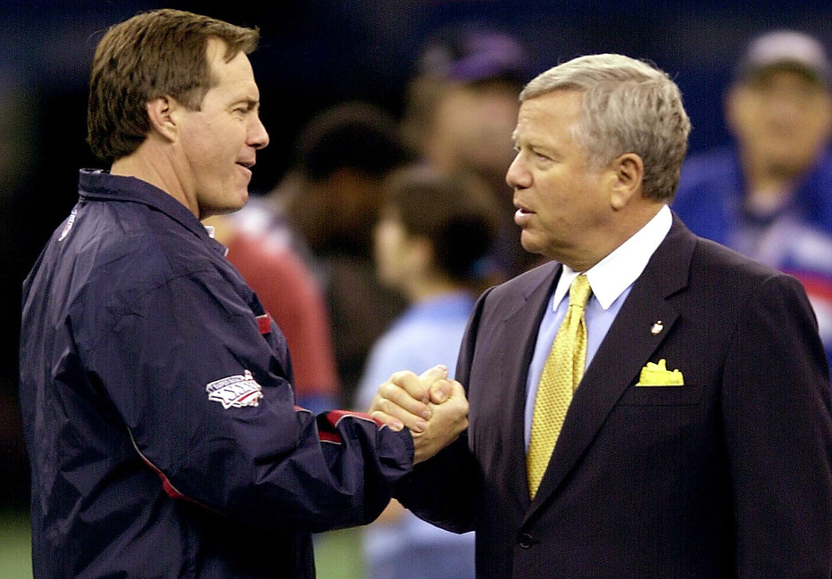 Kraft traded away draft picks for the right to hire Bill Belichick as head coach.