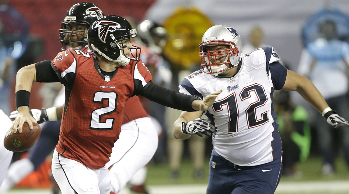 As an undrafted rookie in New England, Vellano started eight games and recorded two sacks, including this one of Matt Ryan, a teammate for now.