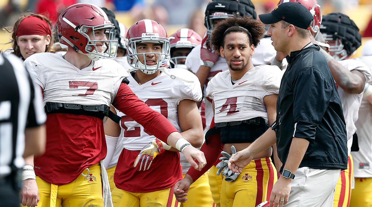 Lanning (7) took an interception back for a touchdown during Iowa State's spring game, and coach Matt Campbell has been pleased with his progress.