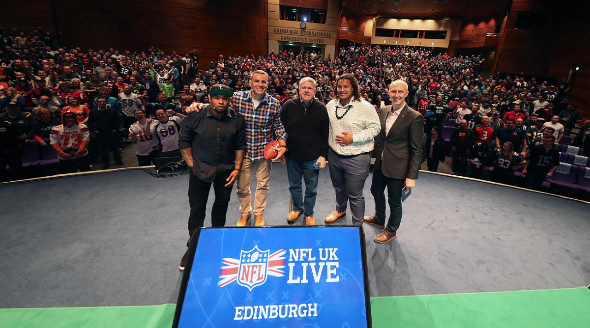 The NFL UK Live group in Edinburgh, from left: Steve Smith Sr., Kurt Warner, Peter King, Danny Shelton and Sky Sports host Neil Reynolds.