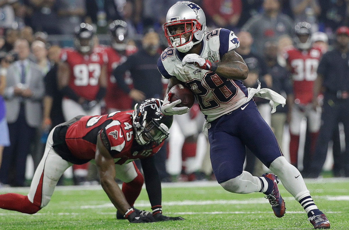James White was targeted 16 times against the Falcons and finished with 14 receptions, both career highs.