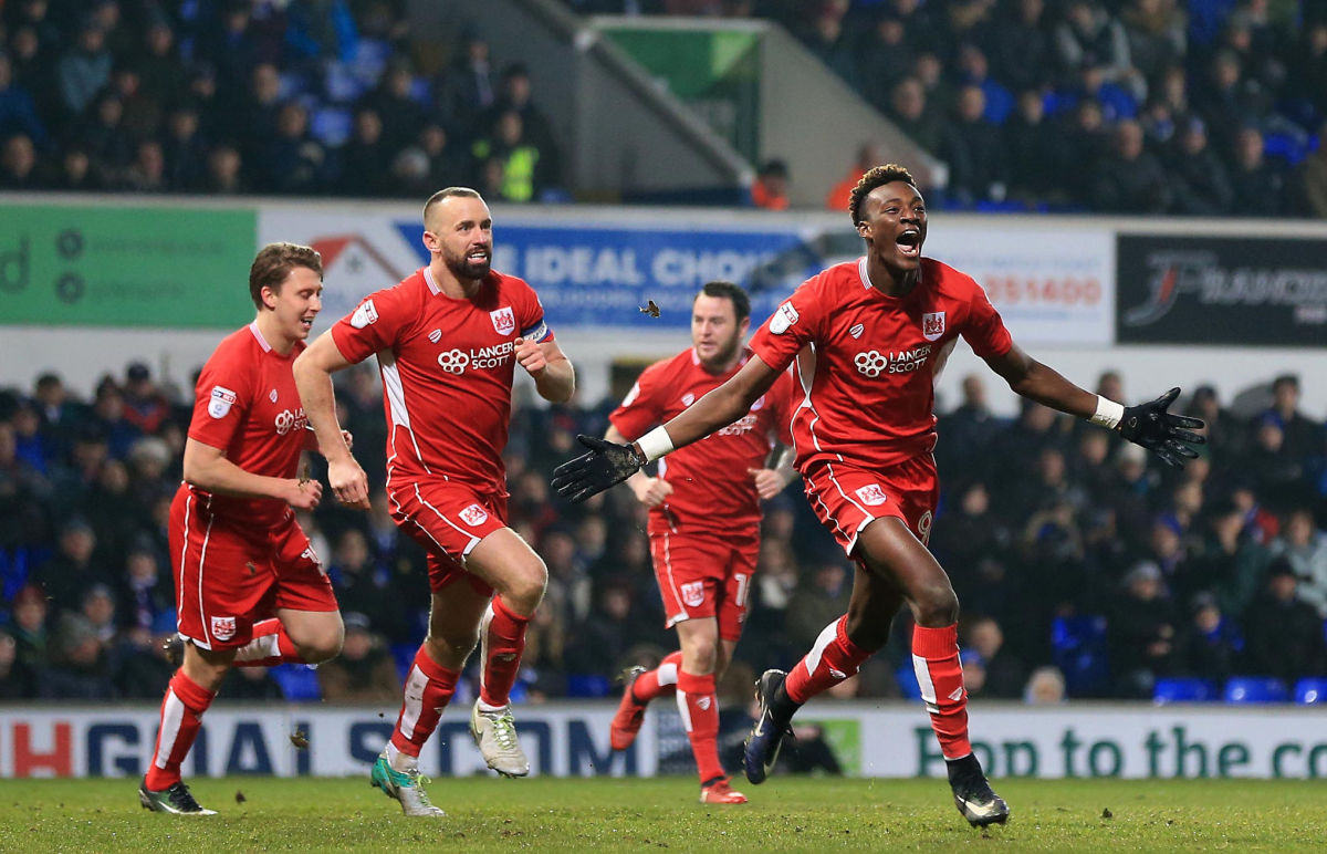 IPSWICH, ENGLAND - DECEMBER 30:  Tammy Abraham of Bristol City celebrates scoring to level the match 1-1 during the Sky Bet Championship match between Ipswich Town and Bristol City at Portman Road on December 30, 2016 in Ipswich, England. (Photo by Stephen Pond/Getty Images)