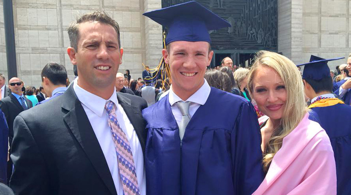 Calvin Riley and his parents, Sean and Kariann, on his high school graduation.