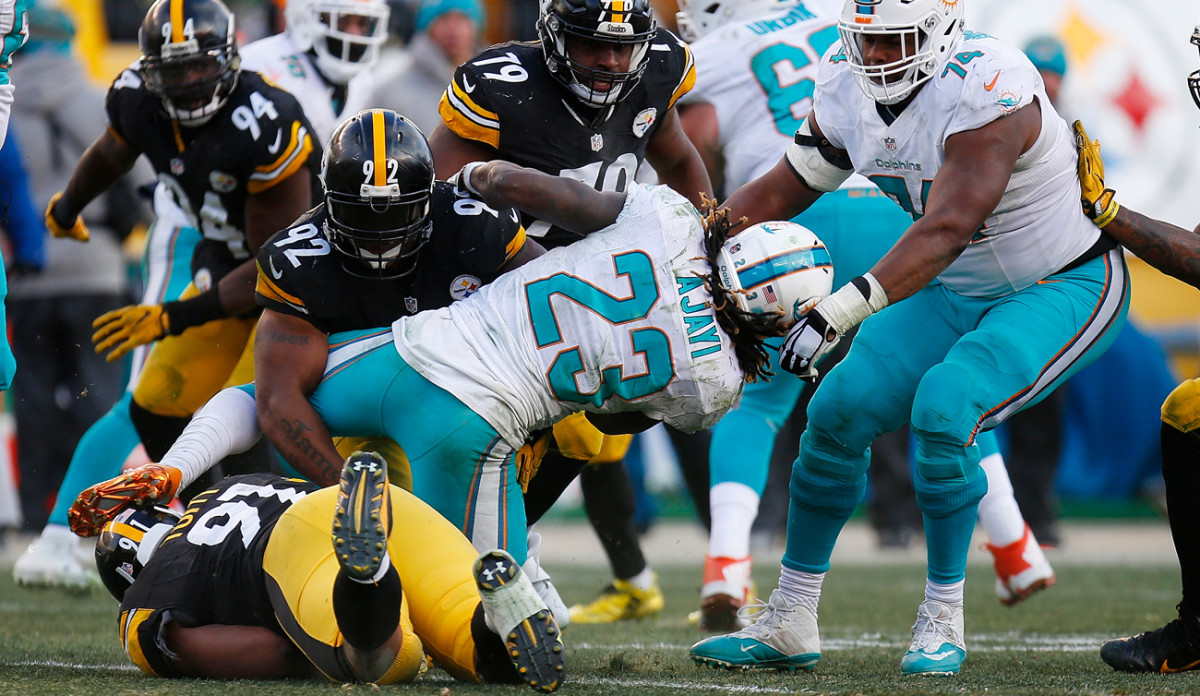 The Steelers held Jay Ajayi to 2.1 yards per carry, his lowest output of the season.