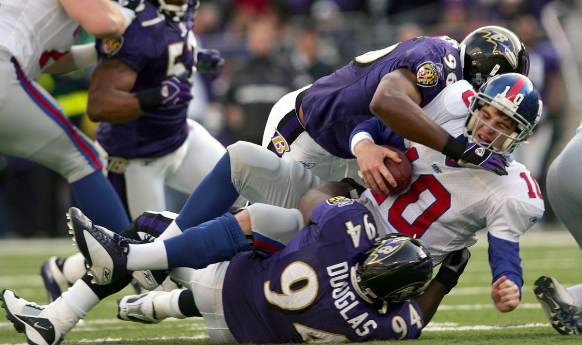 The Ravens wracked the rookie Manning in 2004.