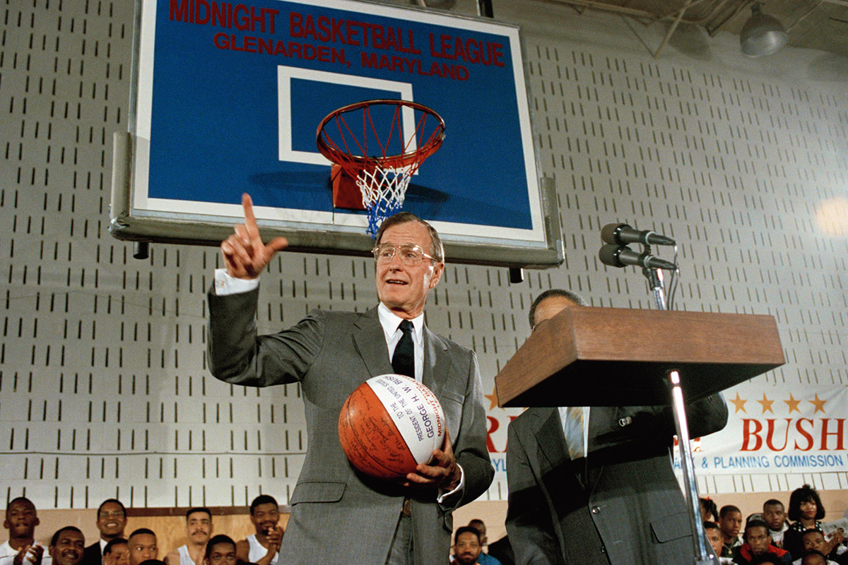 President George H.W. Bush's support for midnight basketball (later continued by President Clinton) helped boost the national attention aimed at the program.