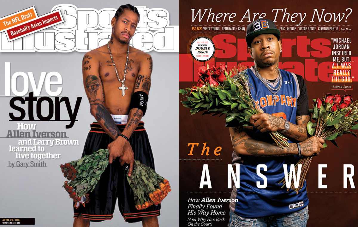 "Sixteen years after he posed for a Gary Smith cover story with his career in full bloom, Iverson graces the front of SI's 2017 ""Where Are They Now?"" issue."