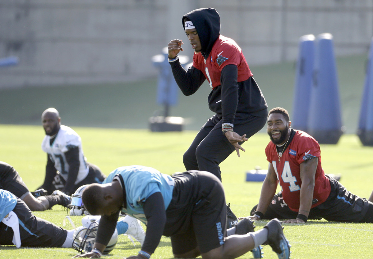 A slimmed-down Newton wasn't throwing, but he was dancing at veteran minicamp in June. (Coming off shoulder surgery, he did individual stretching sessions before the team took the field.)