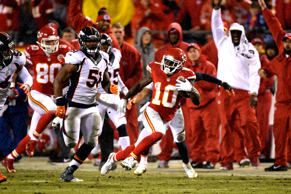 Tyreek Hill has scored eight touchdowns—three on returns, three rushing, two receiving—in the past six games for the Chiefs.