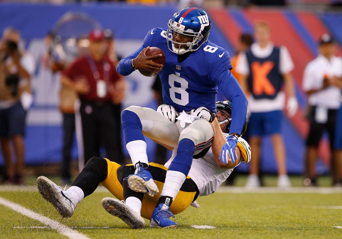 Pittsburgh's T.J. Watt sacked Giants quarterback Josh Johnson twice during their Week 1 preseason game.