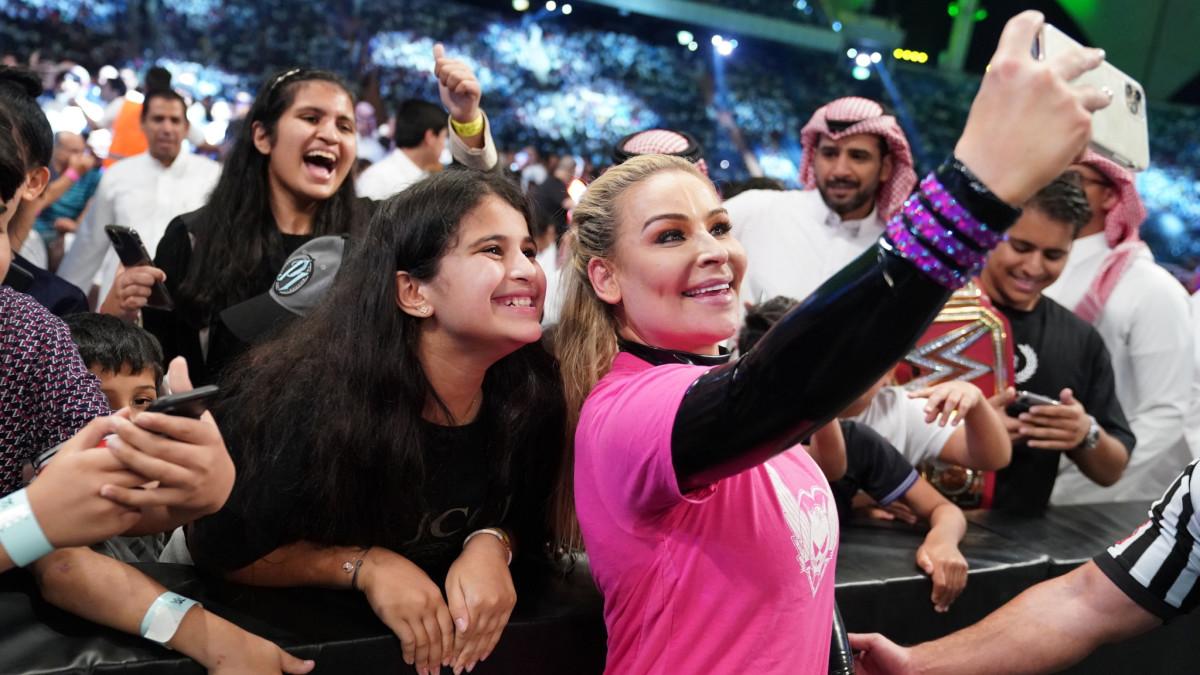 WWE's Natalya takes a selfie with a fan in Saudi Arabia