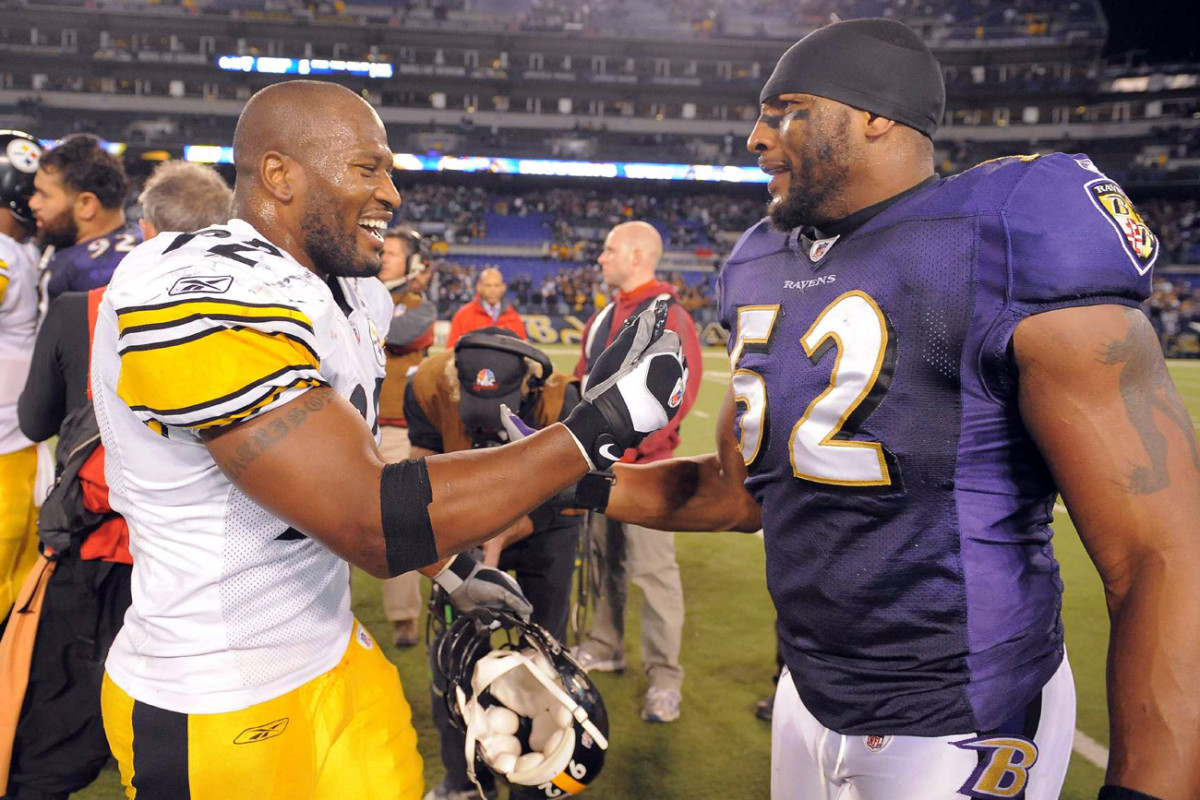 James Harrison and Ray Lewis after a November 2009 game.