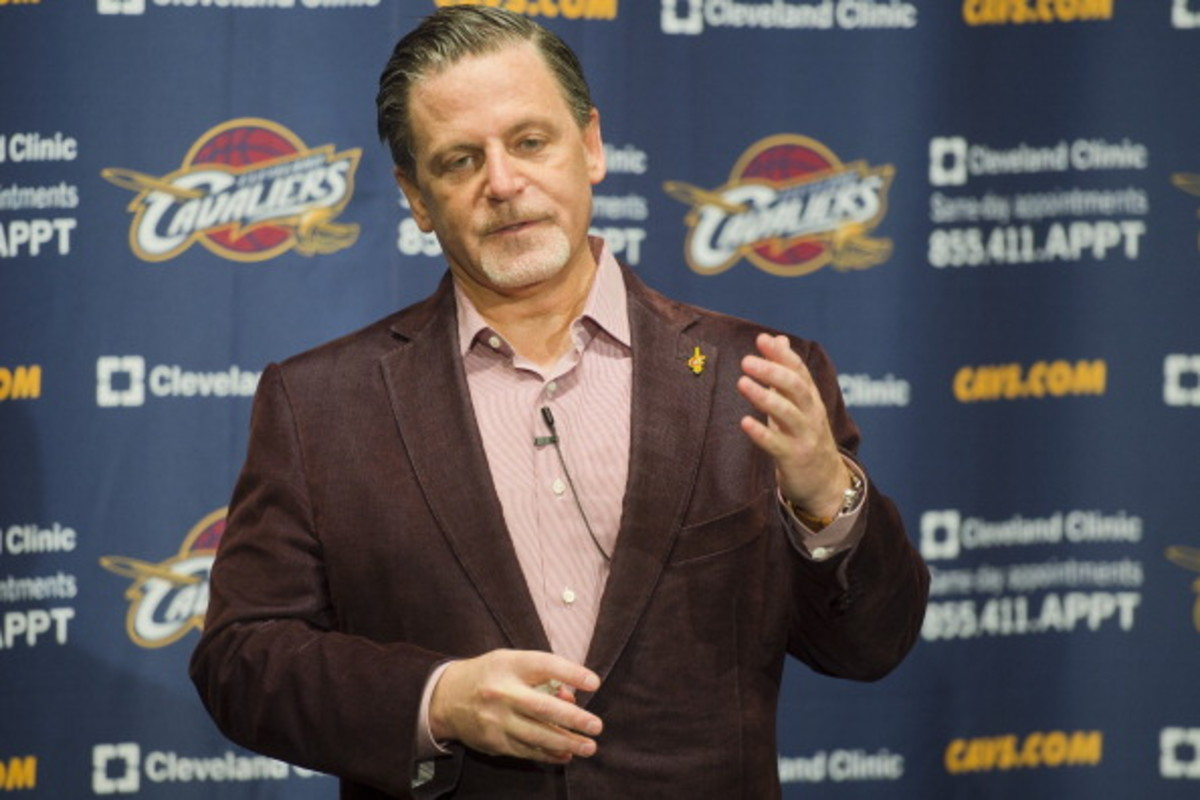 CLEVELAND, OH - OCTOBER 30: Team owner Dan Gilbert of the Cleveland Cavaliers talks to the media prior to the game against the Brooklyn Nets at Quicken Loans Arena on October 30, 2013 in Cleveland, Ohio. (Photo by Jason Miller/Getty Images)