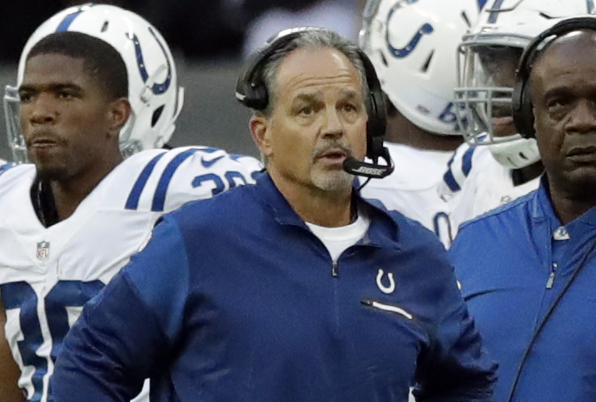 Indianapolis Colts head coach Chuck Pagano looks on during an NFL football game between the Indianapolis Colts and the Jacksonville Jaguars at Wembley stadium in London, Sunday Oct. 2, 2016. (AP Photo/Matt Dunham)