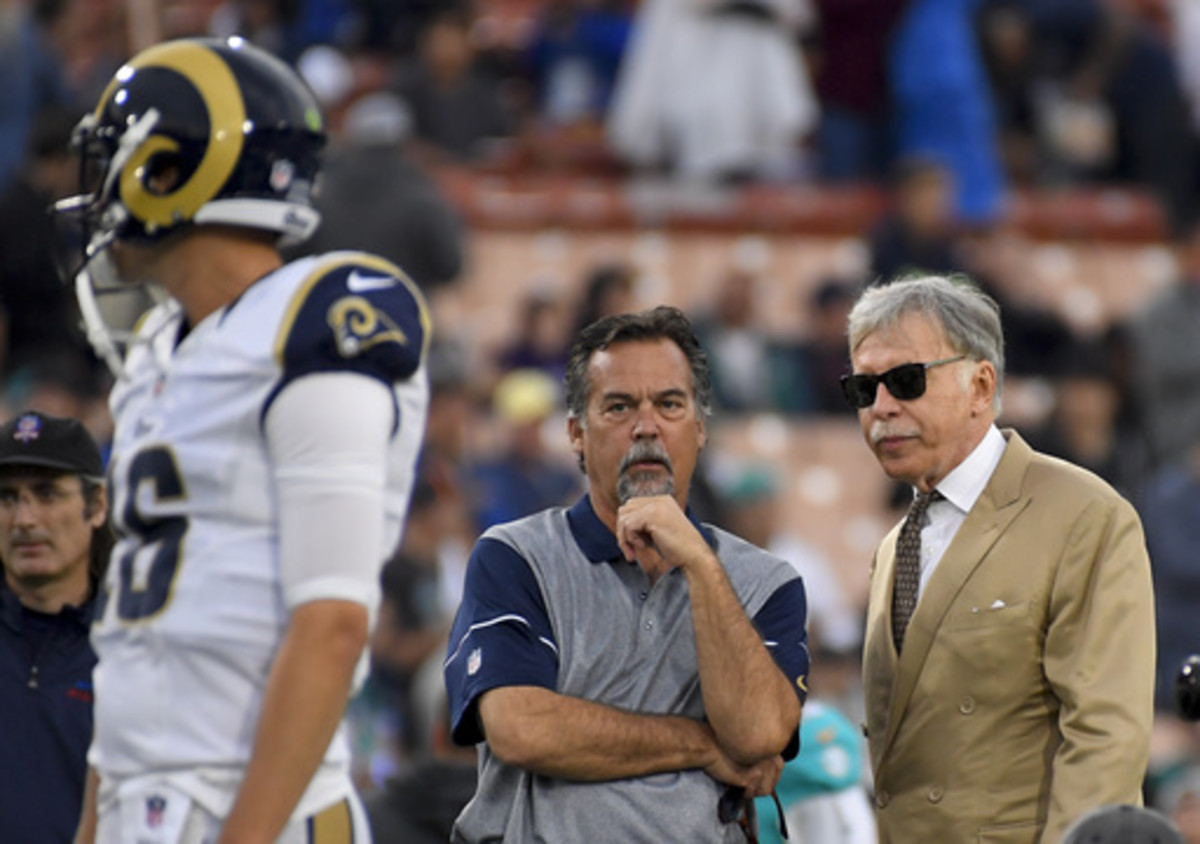 Los Angeles Rams owner Stan Kroenke, from right, head coach Jeff Fisher watch as quarterback Jared Goff warms up before an NFL football game against the Miami Dolphins Sunday, Nov. 20, 2016, in Los Angeles. (AP Photo/Mark J. Terrill)