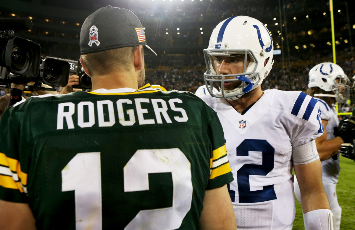 Andrew Luck's first game at Lambeau Field resulted in a win over Aaron Rodgers and the reeling Packers.