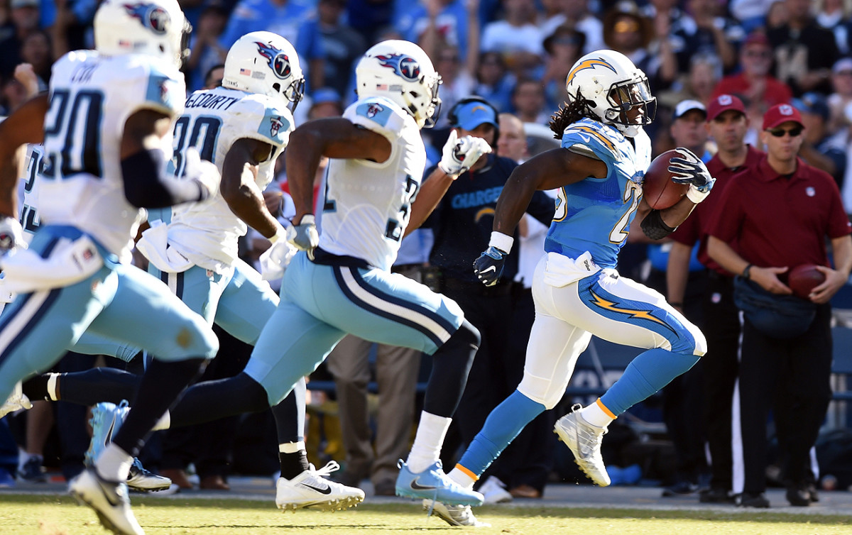 Melvin Gordon leads the NFL in touchdowns with 11 (nine rushing, two receiving).