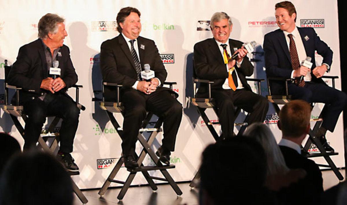 IndyCar legends (left to right) Mario Andretti, Michael Andretti, Al Unser Sr. and Scott Dixon.