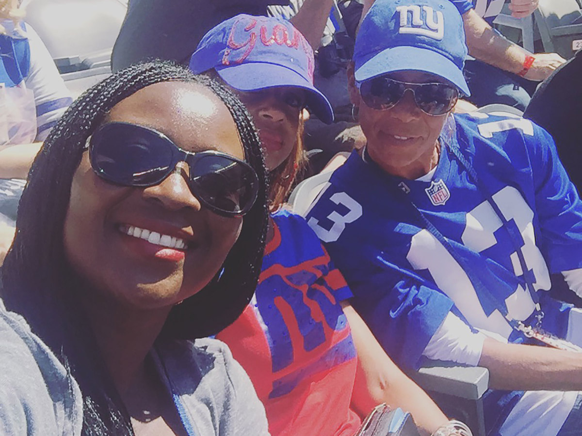 Watching the game with Van Norman (right) as Odell Beckham Jr. played under a bright spotlight provided a new perspective on supporting Eli.