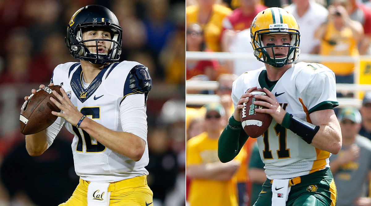 Jared Goff (left) and Carson Wentz are the top two quarterbacks in the 2016 draft.