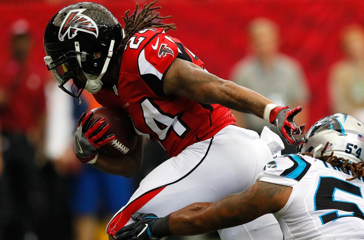 Devonta Freeman and the Falcons will be trying to lock up a playoff berth Saturday at Carolina.