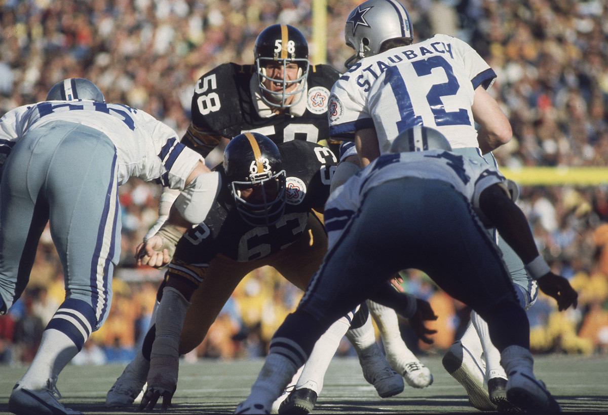 Lambert manning the middle vs. the Cowboys in Super Bowl X.