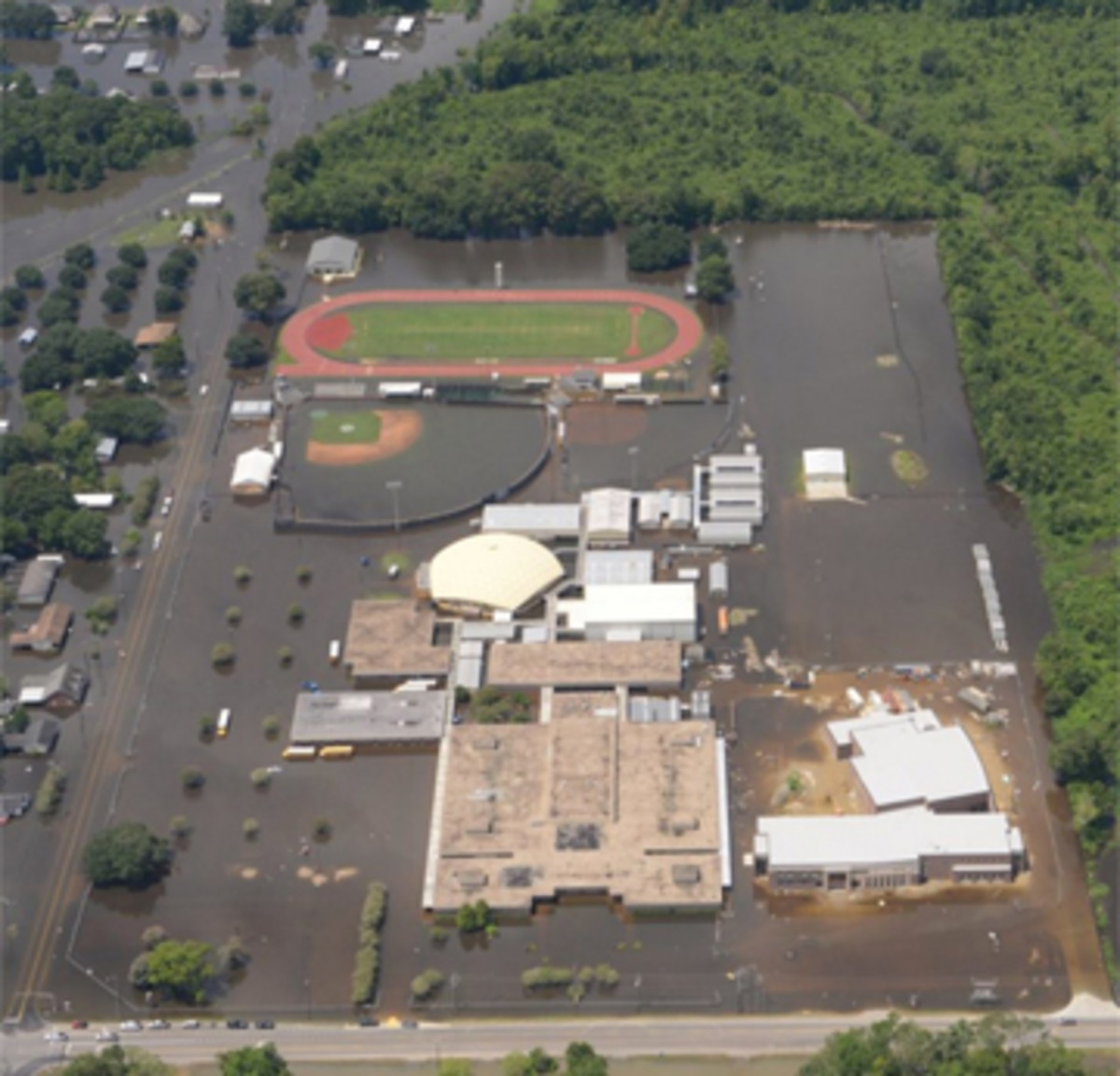 An aerial view of St. Amant High School after the flooding last month.
