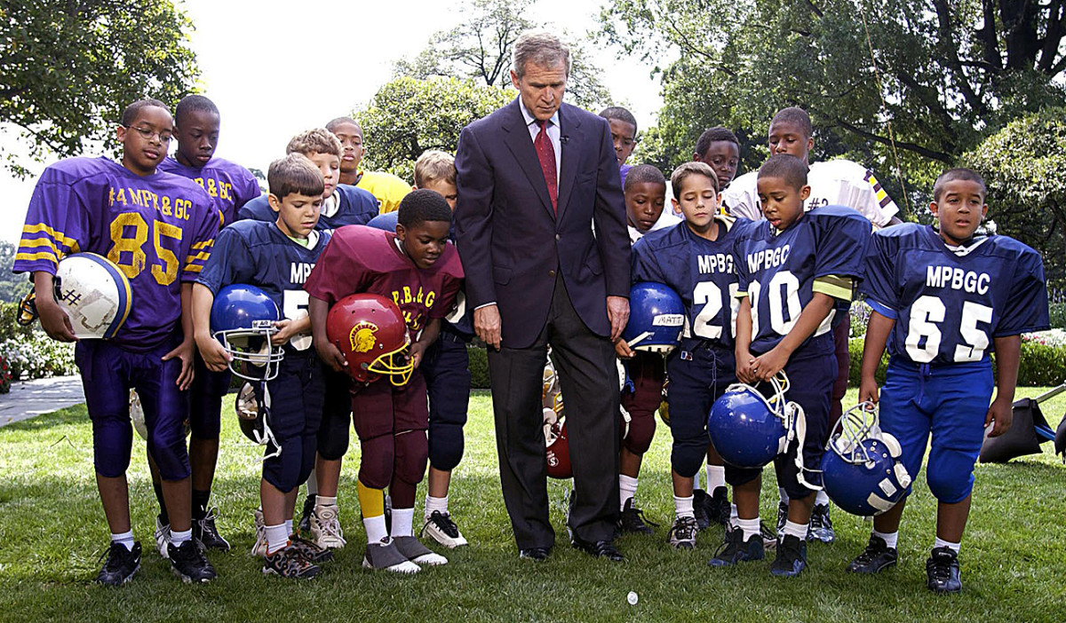 President George W. Bush kicked off the 2001 NFL season with a coin flip in the Rose Garden.