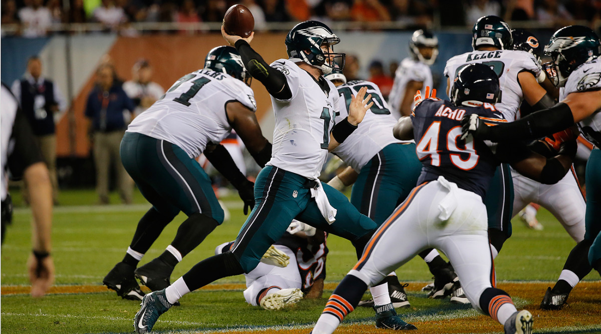 Through two games, Eagles rookie Carson Wentz hasn't had trouble stepping into throws with heavy traffic around him.