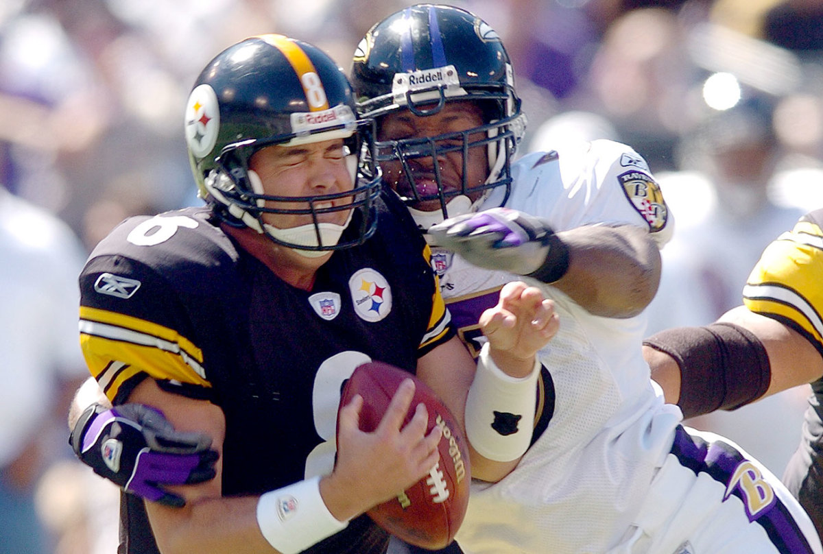Suggs has been sacking Steelers since the days of Tommy Maddox.