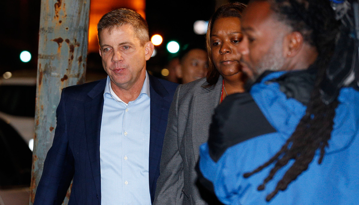 Saints coach Sean Payton was at the courthouse Sunday night to hear the verdict in the Cardell Hayes trial.